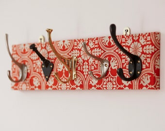 Tile Fabric Mismatched Coat Rack with Five Hooks, wall storage, coat hook, hallway storage, coat tidy