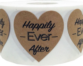 "1.5"" Happily Ever After Natural Kraft Heart Stickers 