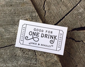 Wedding Drink Tickets - Redeem for a Drink Coupon - Party Bar Tickets - Wooden Nickel - One Drink - Admit one Drink Token - Rectangle