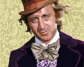 Gene Wilder.... Willy Wonka Digital Art Print....