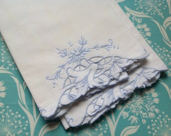 Embroidered pillowcases, white and blue pillowcases, blue pillowcases, vintage pillowcases, light blue pillow cases, bright white