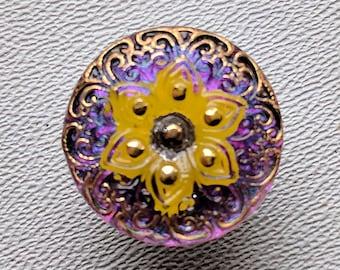 CZECH GLASS BUTTON: 18mm Handpainted Czech Glass Filigree Starflower Button, Pendant, Cabochon (1)