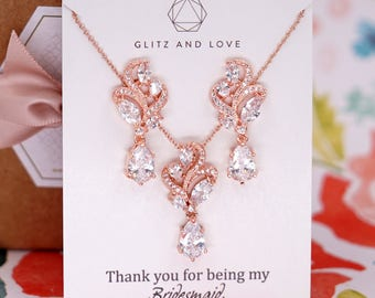 Rose Gold Wedding Bridesmaid Gift Bridal Earrings Necklace Bracelet Jewelry Set Clear White Cubic Zirconia Teardrop Ear Stud  E304 N222