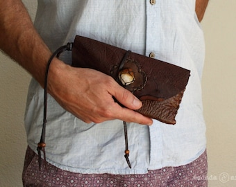 Deerskin Leather Smartphone Clutch Wristlet Pouch with Raw Citrine Point