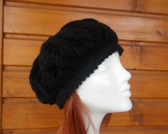 Beret woman wool (black)