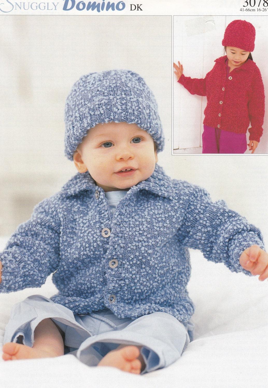 Baby Jacket & Hat Knitting Pattern - Sirdar Domino #3078 Baby Jacket ...