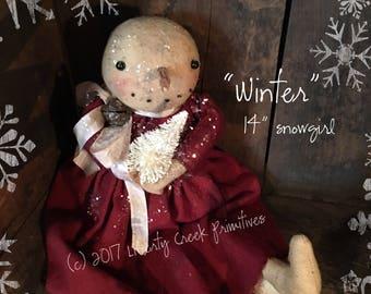Winter Snowgirl Primitive Doll PATTERN