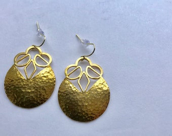 Brass Geometric Pendant Earrings, Raw Brass Hammered Flower Pendants Earrings