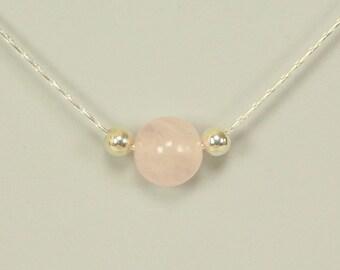 Natural Rose Quartz Bead in Sterling Silver Choker Pendant