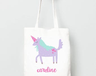 Unicorn Tote Bag, Monogrammed Bag for Kids