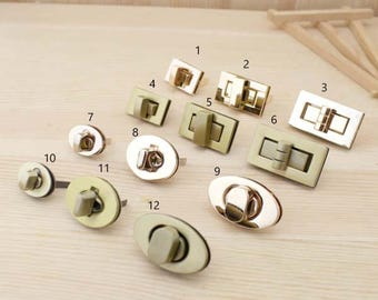 1xfermoir twist for bag lock brass aged form rectangular oval