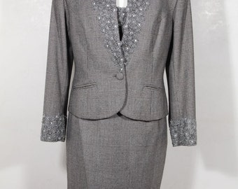 PARADISE Italian VINTAGE Gray Glen Pattern SUIT Blazer Top and Skirt set sz 2 is