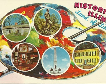 Vintage 1960s Postcard Historic Illinois Paint Palette Land of Lincoln Colourful Scenery State Photochrome Era Postally Unused