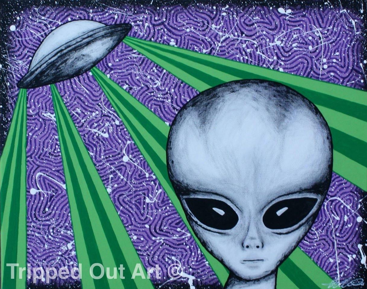 PRINTS Original Hand Painted Acrylic On Canvas Alien Art