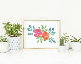 Flower Wall Art - Flower Print - Watercolor Flower Art - Floral Print - Watercolor Floral - Office Art