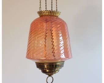 A8287 1800's Pink Opelescent Swirl Glass Candle Holder Pendant