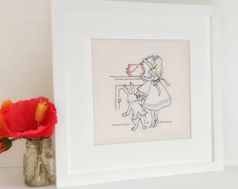 Alice in Wonderland and the White Rabbit freehand embroidery framed art. Alice enjoys cooking picture nursery girls room