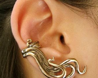 Ear Cuff Bronze Wave Ear Cuff Swirl Ear Cuff Wave Jewelry Bronze Ear Wrap Non-Pierced Earring Prince Ear Cuff Prince Ear Wrap Celebrity