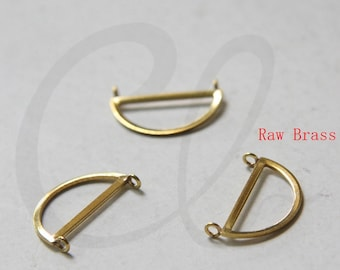 8 Pieces Raw Brass Half Circle - 21x10.5mm (3227C-N-326)