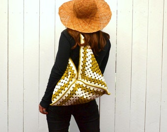 Granny Square Bag Crochet Shoulder Handbag Cotton Striped Boho Purse Made to Order More Color Options
