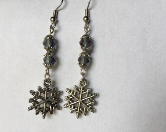 snowflake earrings, pewter charms, faceted beads, silver dangle earrings