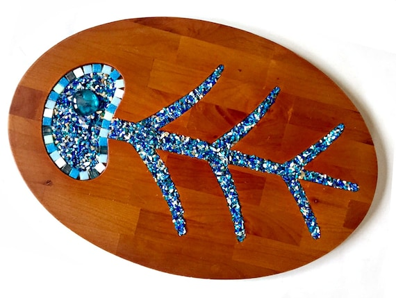 Mid Century Style Fish Plaque, Blue Fish Wall Hanging, Fish Skeleton Decor, Blue Fish Wall Decor, Mixed Media Fish Art, Wood Fish Plaque