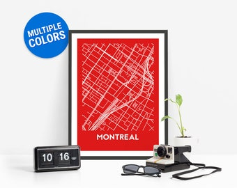 Montreal Full Color Map Print | Montreal Canada Map | Montreal Art