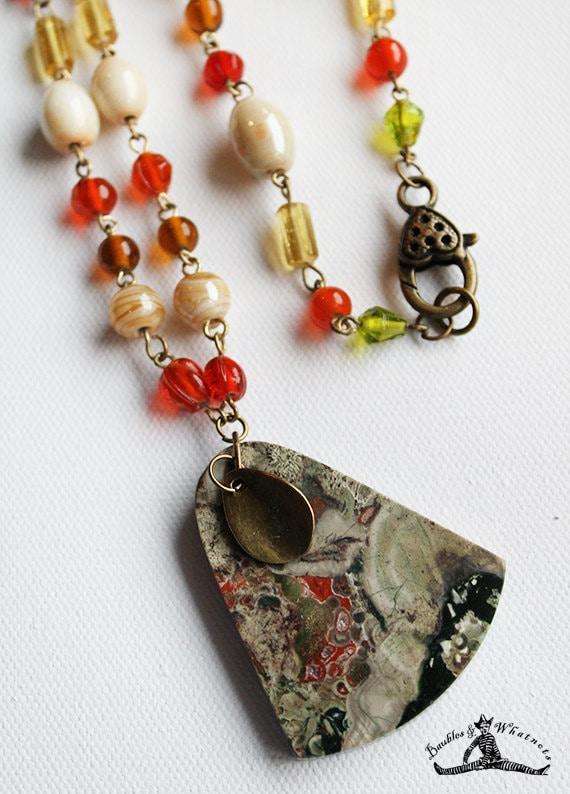 Beaded Long Necklace with Spider Jasper Stone Pendant - Vintage Bronze - OOAK