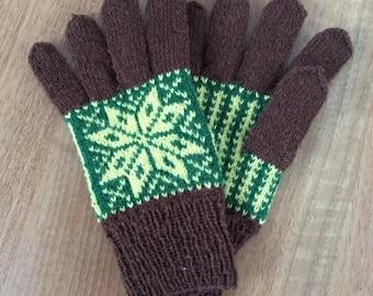 Hand Knitted Fair Isle Gloves