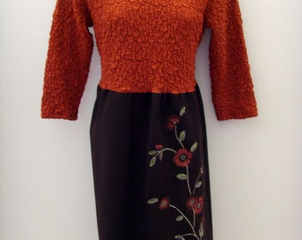 Embroidered Autumn Dress / Harvest, Pumpkin Orange & Chocolate Brown / Velvet Brooch / Unique Upcycled OOAK Fall Fashion / Gift Under 100