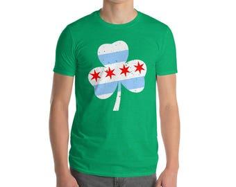 Chicago Flag Shamrock Short-Sleeve T-Shirt - St. Patrick's Day, Chi-rish, Irish