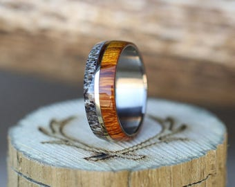 """The """"Golden"""" - Men's Wedding Band with Wood, Antler & 14K White Gold - Staghead Designs"""