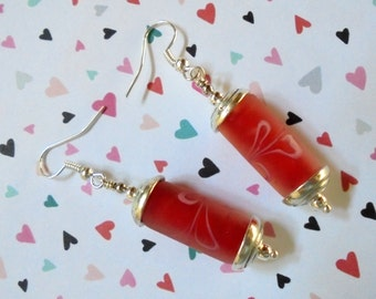 Red and Silver Tube Earrings (2619)