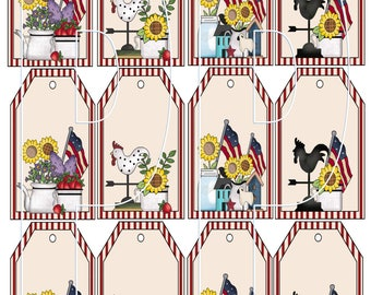 Americana Sheet of Hang Tags Primitive Country Style Twelve to a sheet PDF and JPEG