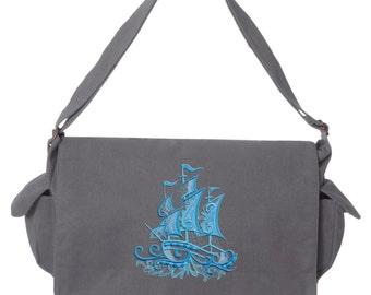 Aquarius - Ship eashell Embroidered Canvas Cotton Messenger Bag