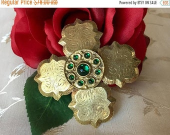 Mothers Day Sale Hattie Carnegie Vintage Signed Maltese Cross Brooch, Gold Tone and Green Maltese Cross Brooch, Hattie Carnegie Maltese Cros