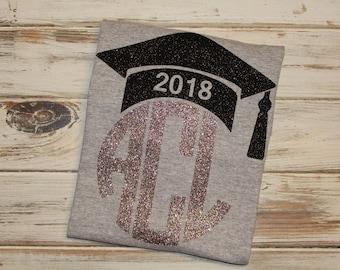 Graduate monogrammed shirt- Graduation shirt- Senior year shirt- Class of 2018 shirt- Senior year monogram- Graduation 2018- Senior class