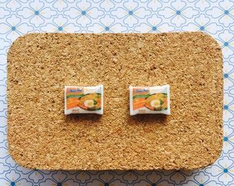 Mi goreng packet handmade hypoallergenic stud earrings noodles indonesian food mini student  free shipping international