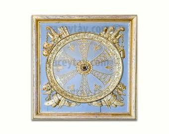 Paris Photography, Blue Versailles Door Print, Gold, French Wall Decor, Baroque Architecture, Square Photo