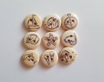 Set of 10 Beach pattern wooden buttons