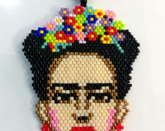 Frida Kahlo Necklace, Delica Seed Beads Necklace, Black Chain Necklace, Frida Kahlo jewelry, MADE TO ODER