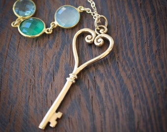 Gold Skeleton Key Necklace - Green Onyx, Aqua Chalcedony, Teal Quartz - Layering Necklace
