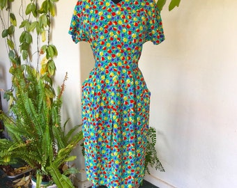 80s floral teal green spring vintage dress hourglass rayon pockets medium flowers fruit tulip short sleeve