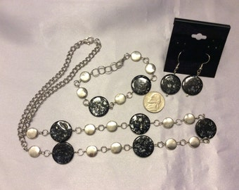 Black Spotted Shells Matching Necklace, Bracelet, and Earrings