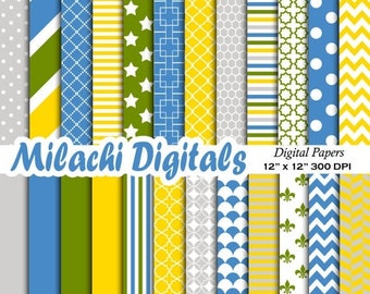 60% OFF SALE Yellow blue gray green digital paper, scrapbook papers, wallpaper, photography background - M401
