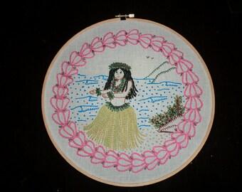 Hula Girl PDF Crewel Embroidery Pattern