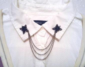 Brass Rose Collar Pins Antique Brass Collar Chain Boho Sweater Pins Hipster Collar Pins Bohemian Sweater Clips Lapel Pin Collar Brooch