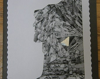 Iris Folded Old Man of the Mountain Note Card - a.k.a. Old Stone Face - Historic NH