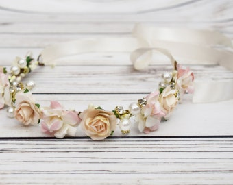 Handcrafted Blush Pink and Champagne Cream Pearl Rose Flower Crown - Blush and Cream Bridal Crown -Flower Girl Crown -Wedding Hair Accessory