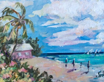 "Bermuda Beach   original painting 5 x 7"""